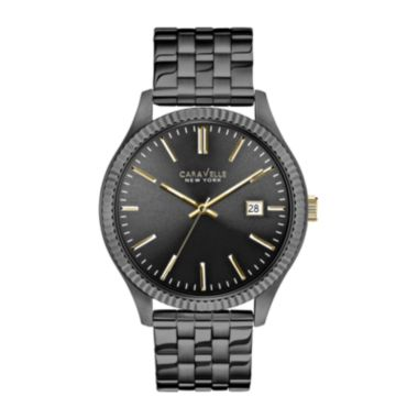 Caravelle New York® Mens Date Gunmetal Bracelet Watch - JCPenney