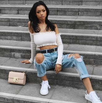 top prettylittlething crop tops off the shoulder off the shoulder top summer outfits jeans white top long sleeves bardot streetstyle