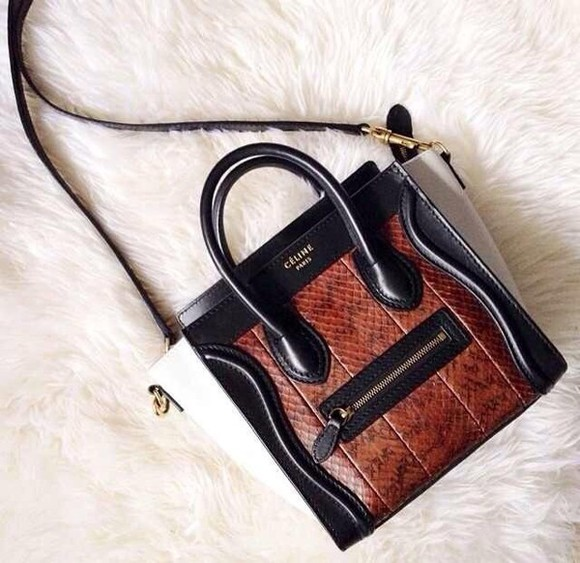 celine bag black white leather brown