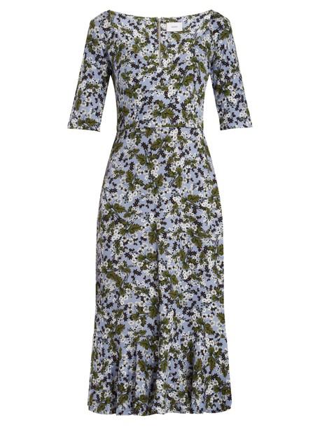 dress midi dress midi floral print blue