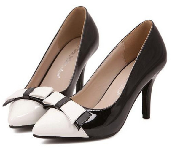 bow wedding shoes women black high heel