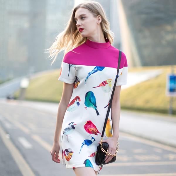 dress dress bqueen fashion gilr birds chic party sweet cute printing slim hem