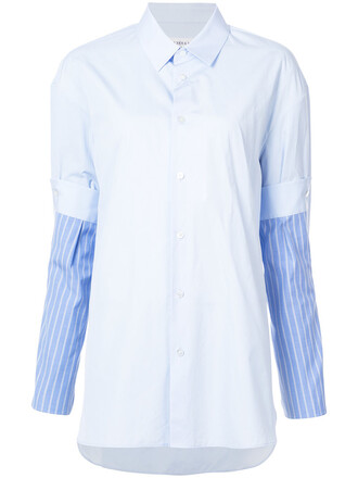 shirt women cotton blue top