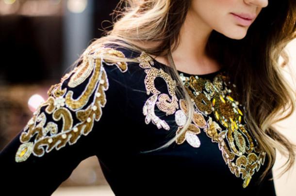 shirt embellished gold black pretty formal