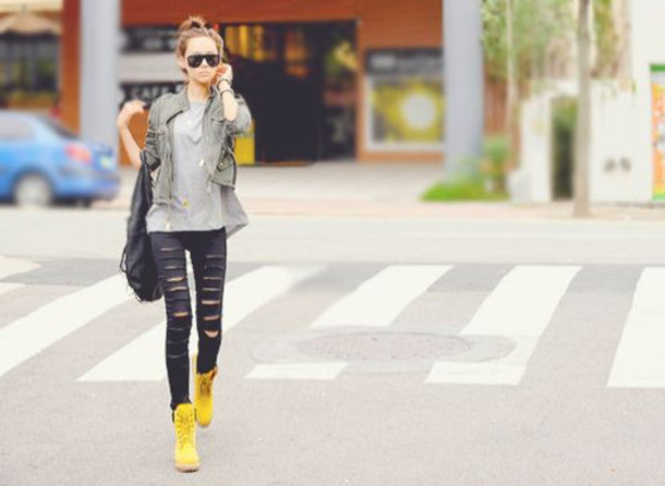 yellow jeans shoes