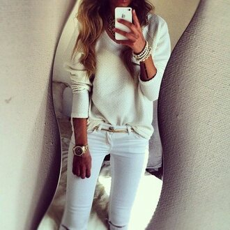 white jeans white sweater watch jeans