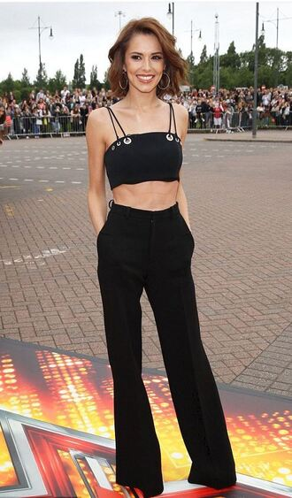top crop tops black all black everything cheryl cole pants high waisted
