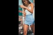 skirt,blue,denim,denim look,mini skirt,mini,short,cute,denim skirt,jeans,fashion,teenagers,summer,summer skirt,fashion inspo,instagram,brandy melville,dip hem,curved hem,summer outfits,blue skirt,model