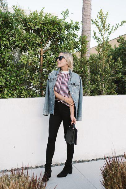 t-shirt skinny jeans ankle boots handbag blogger blogger style striped t-shirt denim jacket tumblr stripes jacket blue jacket denim jeans black jeans boots black boots bag sunglasses