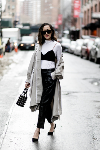 the chriselle factor blogger top underwear coat pants sunglasses bag shoes grey coat winter outfits leather pants high heel pumps