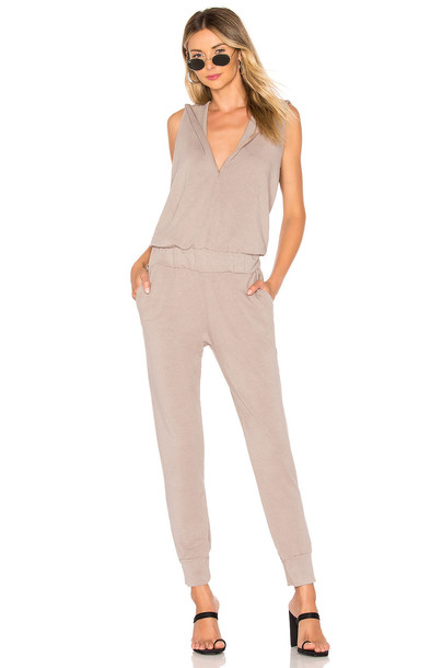 MONROW x REVOLVE Supersoft Sleeveless Hoody Jumpsuit in taupe