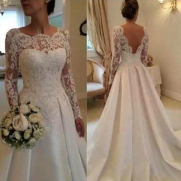 Aliexpress.com : Buy Elegant Ivory Long Sleeve Lace Wedding Dresses ...