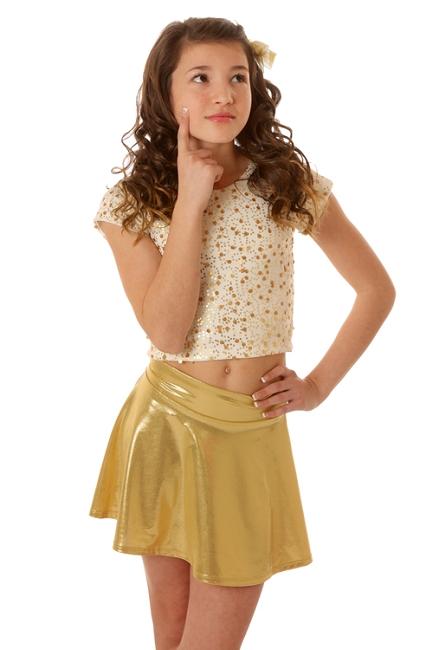 Les Tout Petits Gold Foil Skater Skirt