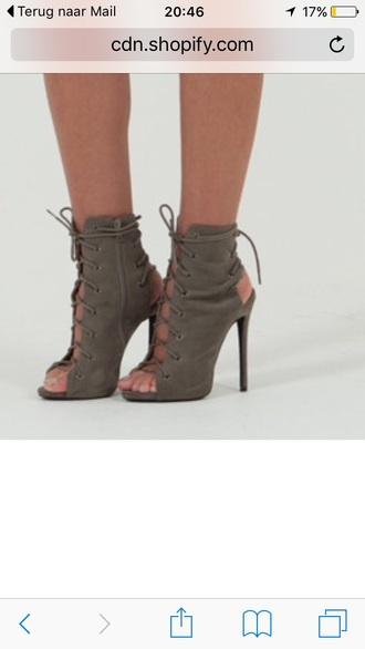 shoes high heels open toes open heel khaki laces