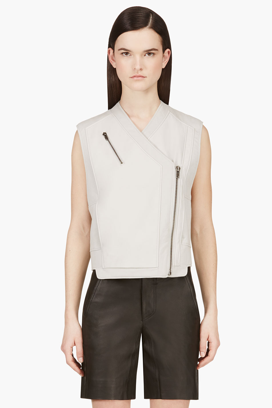 helmut lang grey paneled leather biker vest