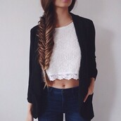 shirt,crop tops,lace top,jeans,cardigan,top,white,lace,scalloped,t-shirt,blouse,jacket,cute,casual