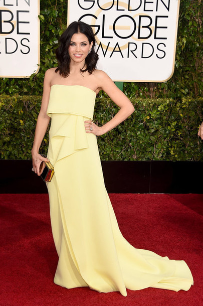 dress jenna dewan red carpet dress Golden Globes 2015 lemongrass emilio pucci