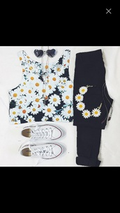 t-shirt,top,outfit idea,summer outfits,clothes,spring outfits,tumblr outfit,floral,tank top,flowers,crop tops,hair accessory,shirt,daisy,converse,headband,sunglasses,outfit,heart sunglasses,polyvore