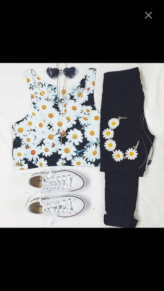 shirt daisy crop tops converse headband sunglasses flowers outfit heart sunglasses polyvore hair accessory