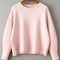 Pink round neck ribbed trim drop shoulder knitwear -shein(sheinside)