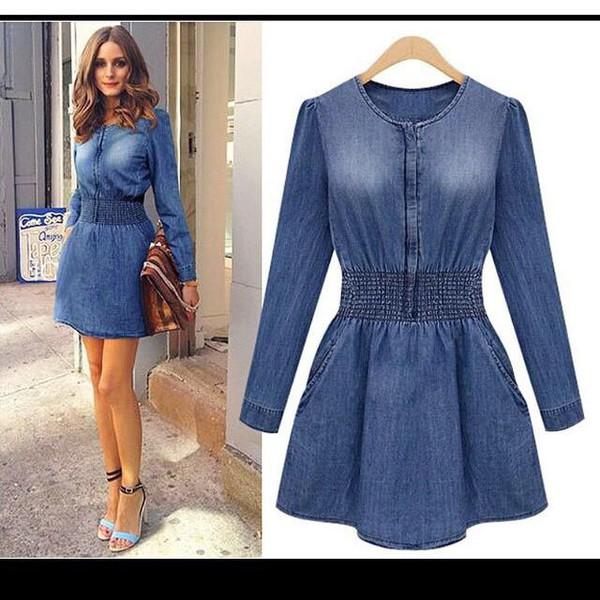 sleeves denim dress denim cute skater style sexy elegant