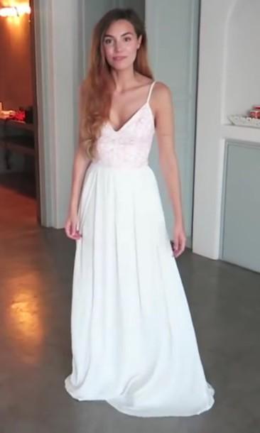 Dress: maxi dress, long dress, white dress, flowy dress, long ...