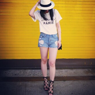 shorts lovers + friends blue jean shorts distressed shorts cut off shorts revolve clothing revolve revolveme