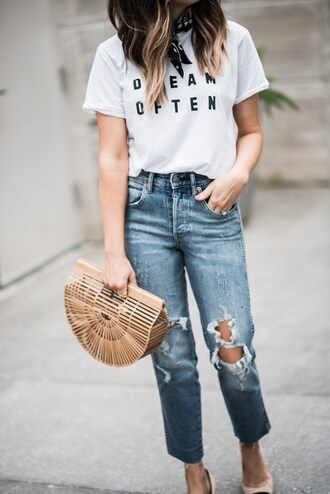t-shirt distressed denim slide shoes blogger blogger style bandana slogan t-shirts boyfriend jeans handbag basket bag
