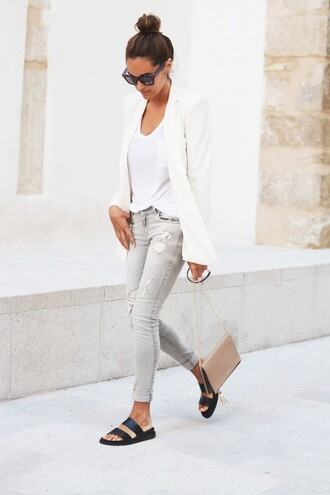 stella wants to die jeans jacket bag t-shirt sunglasses shoes le fashion le fashion image white blazer white linen blazer slide shoes black slides skinny jeans mirror wayferer calvin klein bag double strap slides white t-shirt ripped jeans streetstyle grey jeans blazer nude bag sandals slide sandals