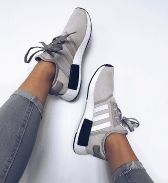 shoes grey white black adidas adidas nmd shoes