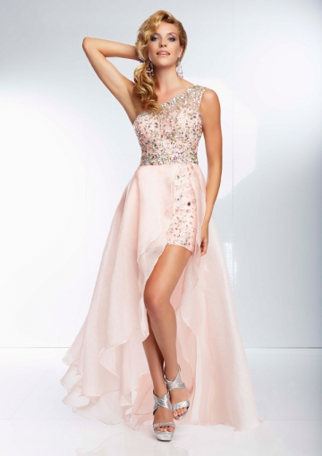 Wholesale 2014 A-line One-shoulder With Sequins Chiffon Hi-low Prom Dresses/ Formal Dress Paparazzi Style 95054 - Cheap 2014 Prom Dresses - Hellopromdress.net