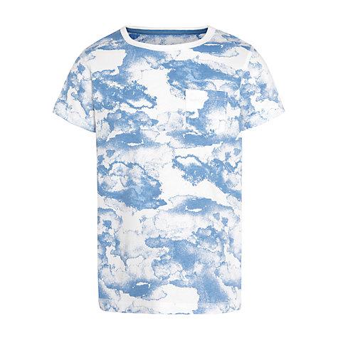 Buy John Lewis Boy Cloud Print T-Shirt, Blue/White | John Lewis