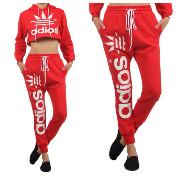 hoodie sweater jumpsuit red adidas wings adios t-shirt fashion cool girl style joggers