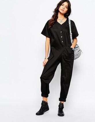 jumpsuit overalls clothes asos black black jumpsuit