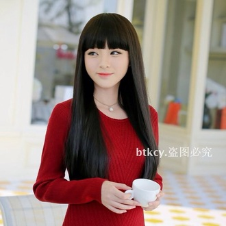 blouse red long sleeve