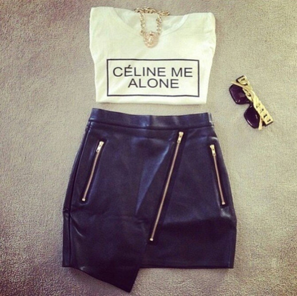 t-shirt celine tumblr celine me alone shorts sunglasses shirt jewels skirt black skirt