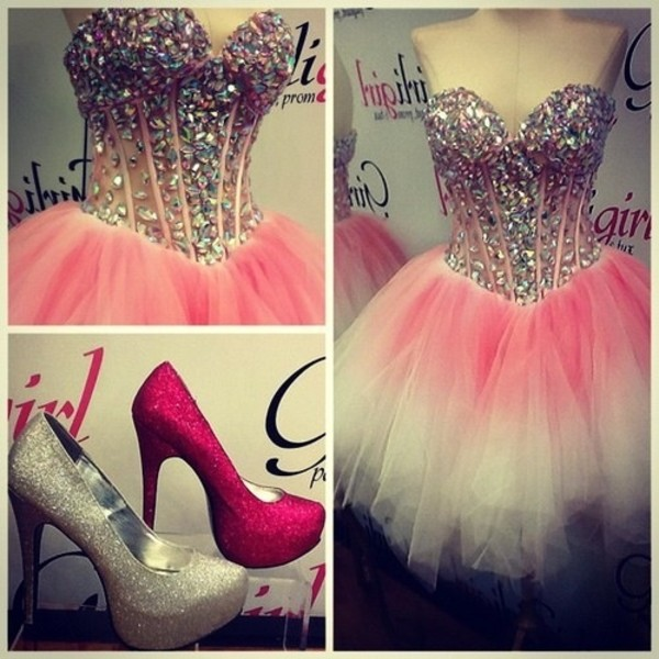 dress pink white covered colorful light strapless prom prom dress ombre short prom dress rhinestones crystl boob tube short pink prom dress girly high heels pink and white dress sparkle