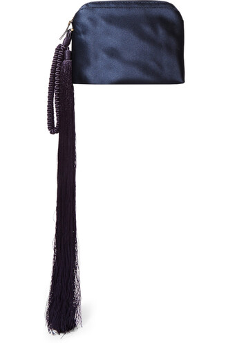 clutch silk satin blue bag