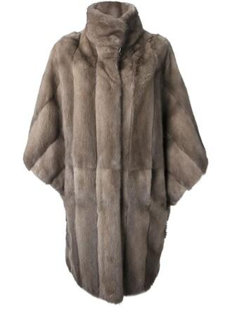 coat fur women grey