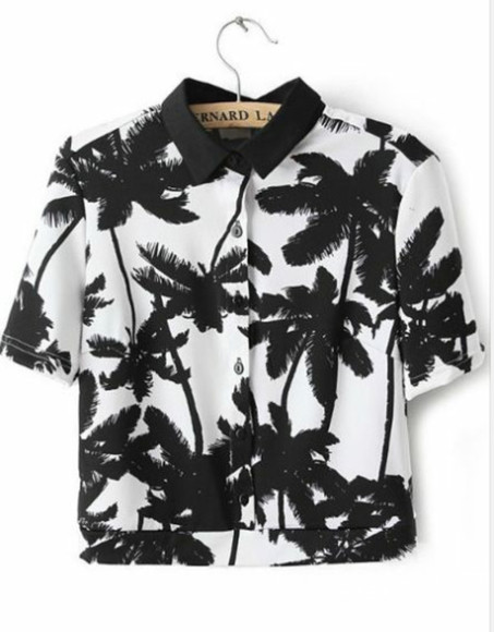 button up black and white palm tree print
