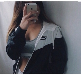 jacket nike blue white zip