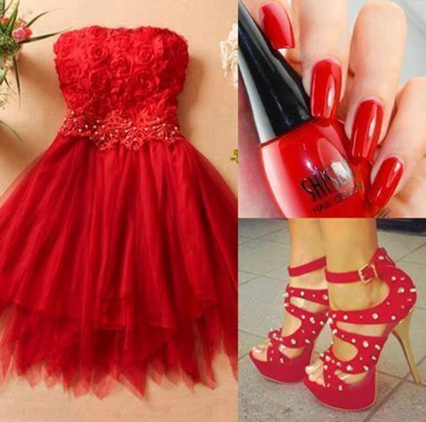 dress red roses cute red dress shoes