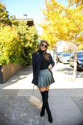 carriebradshawlied,blogger,jacket,skirt,top,shoes,bag,sunglasses,fall outfits,chanel bag,thigh high boots,blazer,pleated skirt,beret