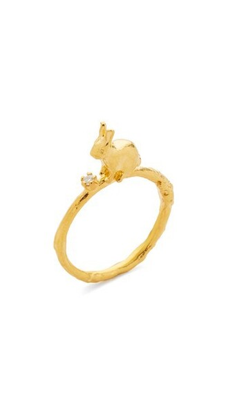 bunny clear ring gold jewels