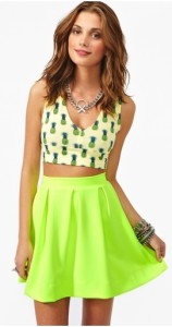Neon Lime Scuba Skater Skirt Flared Rockabilly Mini Vintage Rocker A Line | eBay