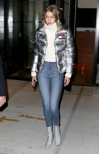 jacket metallic silver turtleneck jeans boots gigi hadid fall outfits fall jacket turtleneck sweater sweater shoes
