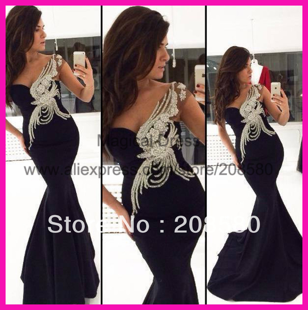 2014 Black Formal Beaded Fishtail Evening Dress Prom Gown Mermaid Women Vestidos de Renda E5689-in Evening Dresses from Apparel & Accessories on Aliexpress.com