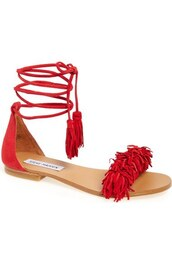shoes,lace-up shoes,lace up,flats,flat sandals,red shoes,red sandals,fringe shoes