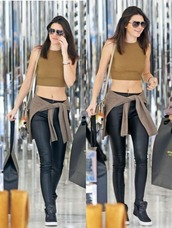 leather pants,kendall jenner,sneakers,crop tops,pants,top,shoes