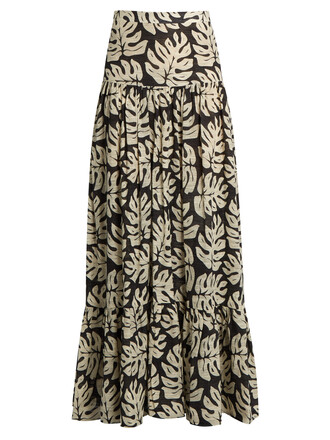 skirt maxi skirt maxi cotton print white black